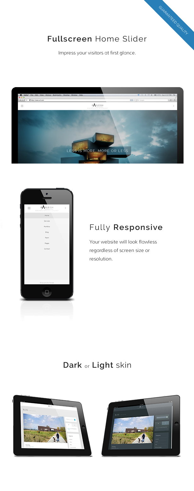 WordPress theme Rayleigh - A Responsive Minimal Architect Theme (Creative)